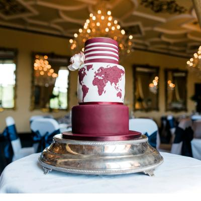 Burgundy themed Map Wedding Cake
